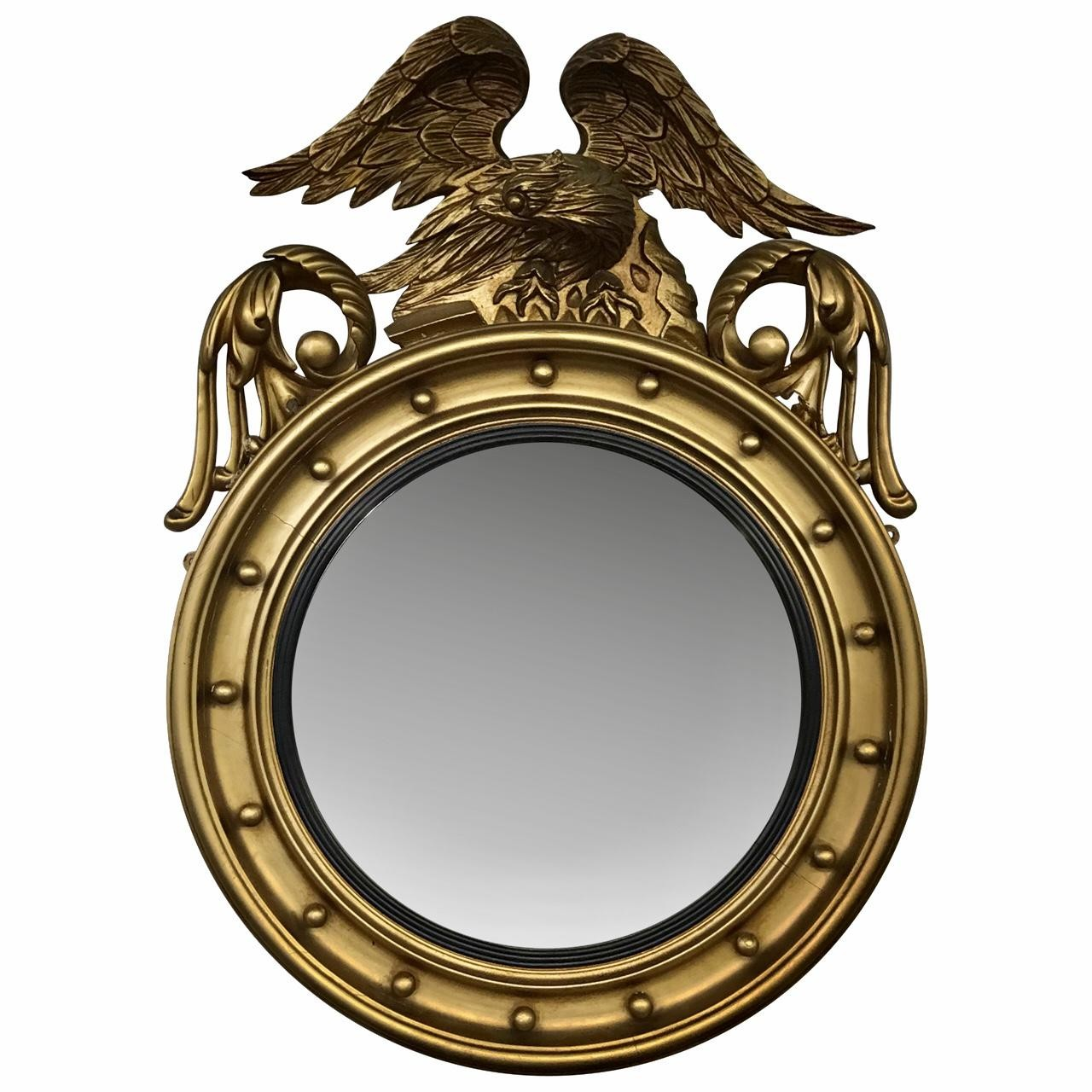 English Gilt Convex/Bullseye Mirror, Carved Eagle Top. c. 1900